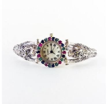 Sterling Silver Women's Tiger Watch with Marcasite and Fancy Natural Gems
