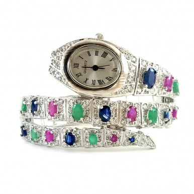 Exclusive Snake Design Serling Silver Bangle Wristwatch with Gems