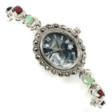 fancy colors gemstone emerald, ruby, sapphire & marcasite 925 sterling silver ladies wrist watch