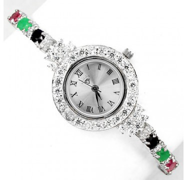 delightful genuine emerald, sapphire, ruby & CZ sterling silver wrist watch for women