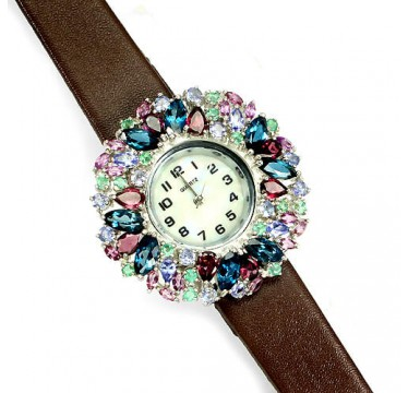 London Blue Topaz, Rhodolite, Tanzanite & Emerald Silver & Leather Watch