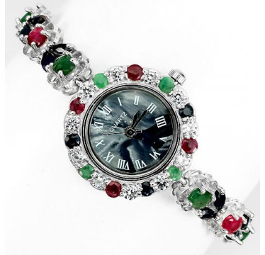fancy colors jewels 925 sterling silver ladies wrist watch with genuine emerald, ruby & sapphire
