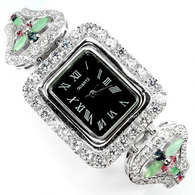 natural mixed gems emerald, ruby, sapphire & CZ 925 sterling silver ladies wrist watch