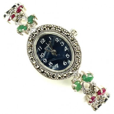 really genuine jewels emerald, ruby, sapphire & marcasite 925 sterling silver ladies wrist watch