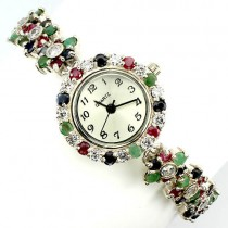 delightful natural gems emerald, ruby, sapphire & CZ luxury 925 silver womens watch