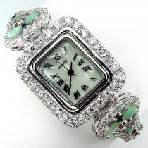 mixed natural jewels emerald, sapphire, ruby & CZ luxury sterling silver ladies watch