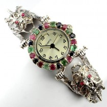 exclusive sterling silver jewelry dragon wrist watch for women with natural gems