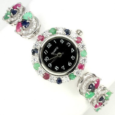 Sumptuous Silver Bracelet Wrist Watch with Natural Gems Emerald, Ruby & Sapphire