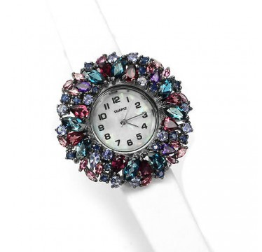 Elegant Ladies' Leather & Silver Watch with Topaz, Tanzanite, Rhodolite, Amethyst