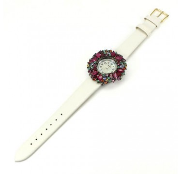 Natural Ruby, Sapphire, Emerald & Tanzanite Leather Silver Ladies' Watch