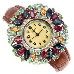 Natural Precious Sapphire Ruby Emerald Sterling Silver Women's Watch