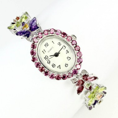 Beautiful Sterling Silver Women's Watch with Semi Precious Gems