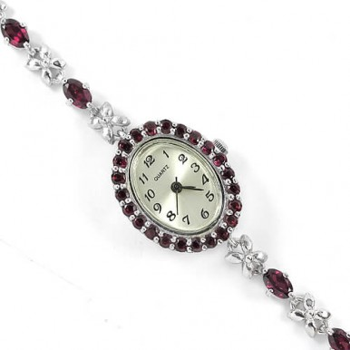 natural purple pink rhodolite garnet 925 sterling silver ladies' wrist watch