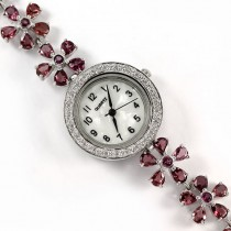 genuine pink rhodolite garnet & CZ flower design 925 sterling silver watch for women