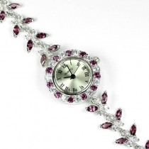 natural rhodolite garnet & cubic zirconia uxury 925 sterling silver 14k gold womens watch