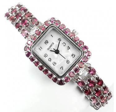 Awesome Silver 925 Jewellery Wrist Watch for Ladies With Natural Rhodolite Garnet