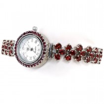 Red Mozambique Garnet Stones 925 Real Silver Watch for Ladies