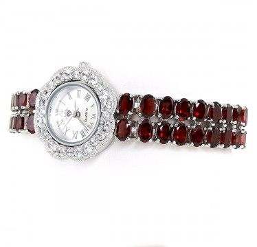 Red Garnet Gems Solid 925 Sterling Silver Adjustable Watch for Women