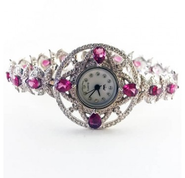 Wonderful 925 Sterling Silver Womans Watch With Genuine Rhodolite Garnet & CZ