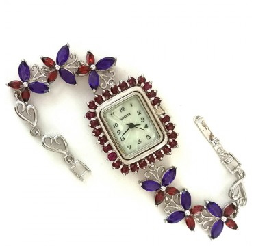 "Astonishing Silver Ladies Watch ""Butterfly"" with Natural Garnet & Amethyst"