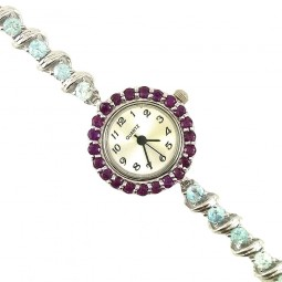 Blue Zircon & Rhodolite Garnet Sterling Silver Women's Jewellery Watch
