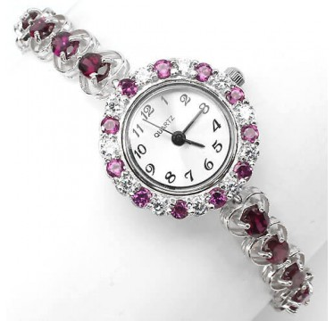 luxury authentic rhodolite garnet & CZ stones sterling silver 14k gold wrist watch for ladies