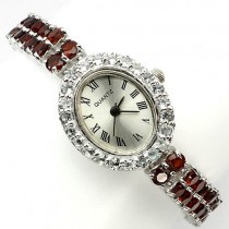 precious genuine red garnet & sky blue topaz sterling silver 14k gold luxury womens watch