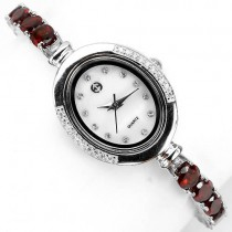 delicate sterling silver jewelry ladies' watch with natural orange mozambique garnet