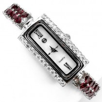 dainty sterling silver womens wrist watch with raspberry rhodolite garnet & CZ