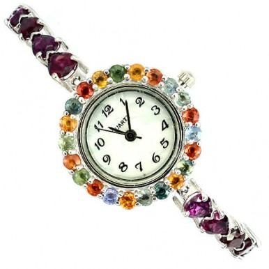 bewitching natural raspberry rhodolite garnet & fancy sapphire 925 silver womens watch