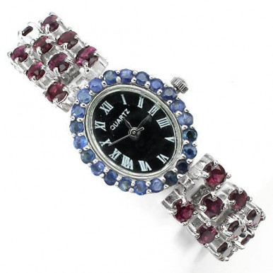 deluxe jewelry watch for ladies made of sterling silver and 14k gold with natural garnet & sapphire