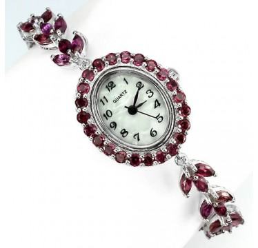 really authentic rhodolite garnet & mother of pearl sterling silver luxury womens watch