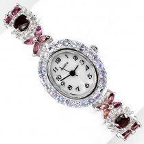 Etherial Sterling Silver Ladies' Wrist Watch With Rhodolite Garnet, Tanzanite & White Topaz