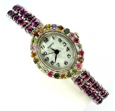 rare authentic cabochon cut rhodolite garnet & tourmaline sterling silver watch for ladies