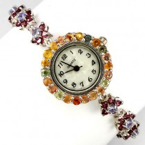 luxury flower design, natural rhodolite, tanzanite & sapphire 925 silver ladies' watch