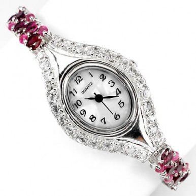 elegant genuine rhodolite garnet, ruby & white topaz 925 sterling silver gold luxury womens watch