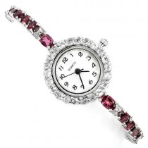 luxury authentic raspberry rhodolite garnet & white topaz gems 925 silver ladies' watch