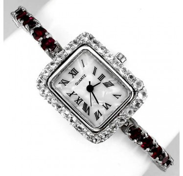 sublime natural rhodolite garnet & topaz sterling silver ladies' watch