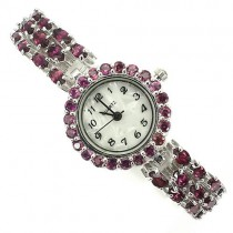 Adorable 925 Sterlig Silver Women's Wrist Watch with Genuine Rhodolite Garnet