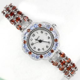 Deluxe Silver Womens Wrist Watch with Natural Red Garnet & Blue Tanzanite
