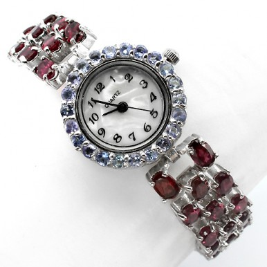 Mesmerizing Silver Bracelet Ladies' Watch with Natural Garnet & Blue Tanzanite
