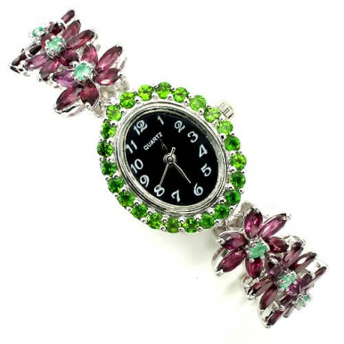 Precious Gem Rhodolite Garnet, Chrome-Diopside & Emerald 925 Silver Ladies Watch