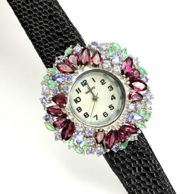 admirable rhodolite garnet, emerald & tanzanite silver ladies' watch with leather band
