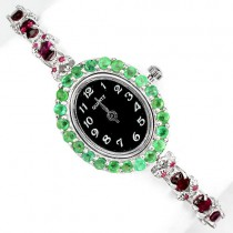 Precious Silver Jewelry Wrist Watch for Ladies With Garnet, Ruby & Emerlad