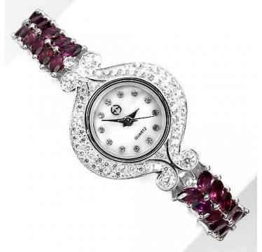exquisite natural rich raspberry rhodolite garnet & CZ in 925 sterling silver watch for women