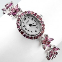 Cute Sterling Silver Bracelet Watch for Women with Natural Rhodolite Garnet