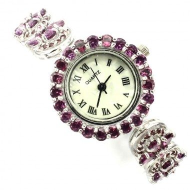 Cute Sterling Silver Wristwatch with Natural Rhodolite Garnet & Ruby