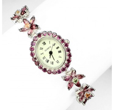 Flower Design Sterling Silver Ladies' Watch with Rhodolite Garnet & Sapphire