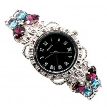 Big Natural Rhodolite Garnet, London Blue Topaz & Ruby Silver Watch