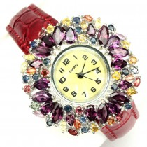 Leather Strap Sterling Silver Women's Watch with Rhodlite & Sapphire